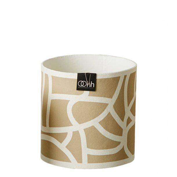 Graphic Lines Pot, White/Light Brown